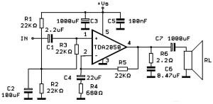 Схема усилителя на TDA2050 для 30 ваттных колонок.
