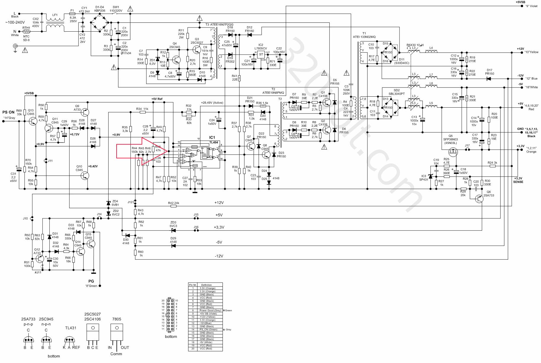 Переделка блока питания от ПК для усилителя на TDA2050