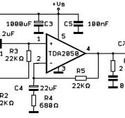 Схема усилителя на TDA2050 для 30-ваттных колонок.